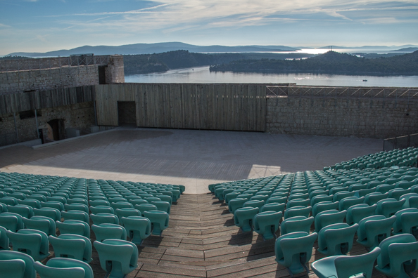 Open-air theatre on top of Saint Michael's Fort in Šibenik in the Dalmatia region of Croatia