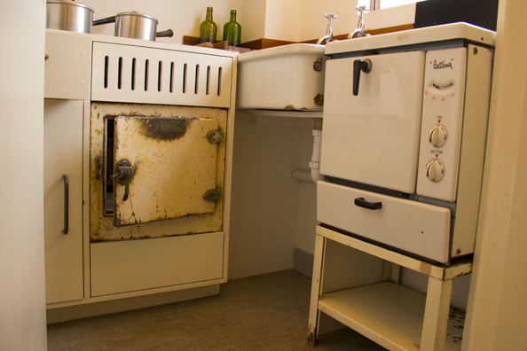Original kitchen furniture on display at the Isokon Gallery Hampstead London-34