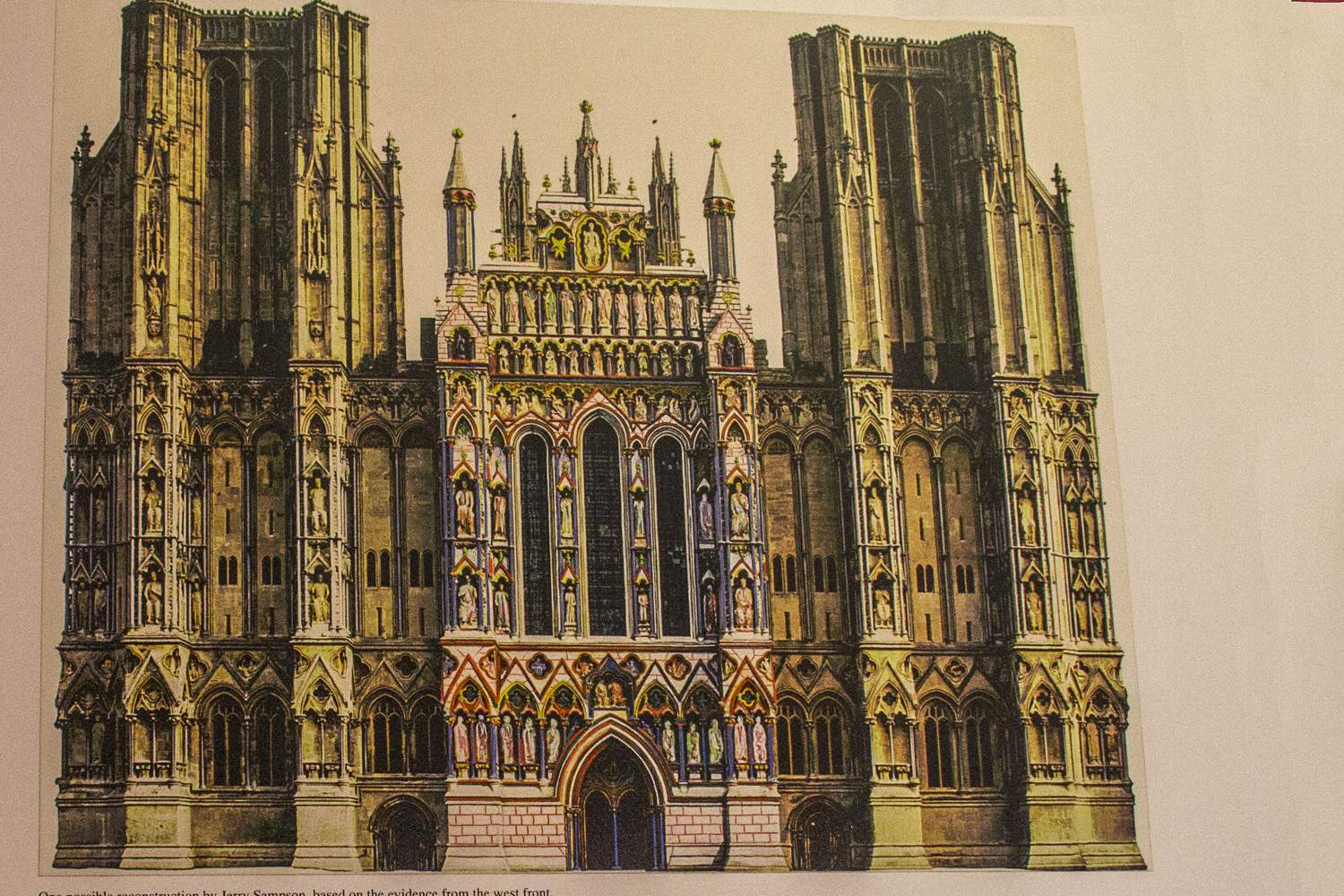 Original painted exterior of the Cathedral in Wells, Somerset, England    20185441
