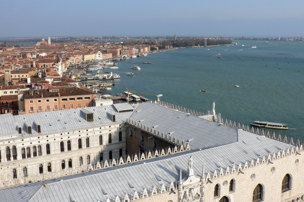 View of the Doge's Palace from the Bell Tower in Venice