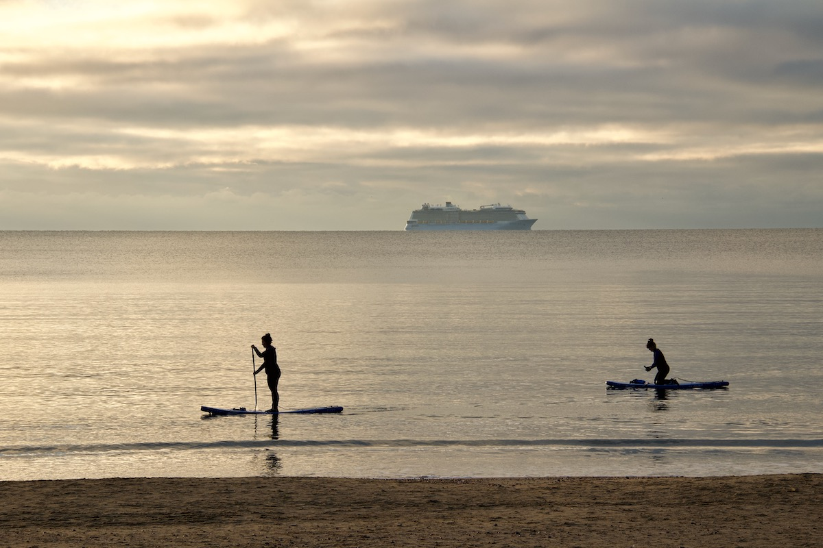 Paddle Boarders off Bournemouth Beach in Dorset