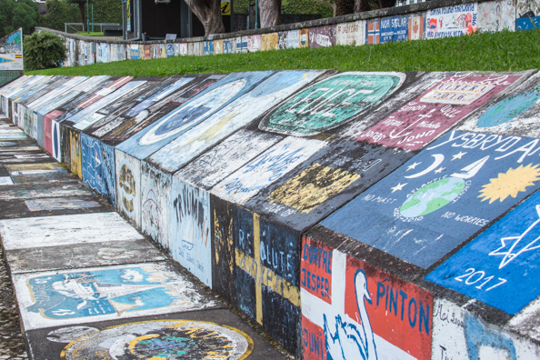 Paintings on the walls of the marina at Horta capital of Faial Island in the Azores