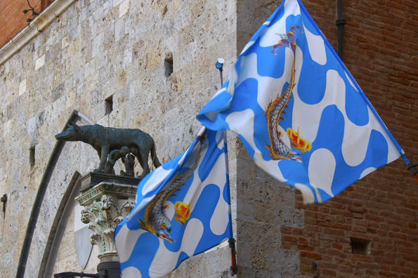 Palio flags in Siena, Tuscany in Italy