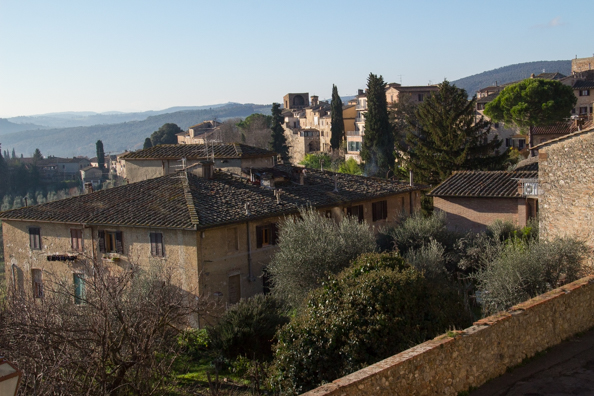 Panoramic view from the viewing terrace in San Gimignano, Tuscany Italy