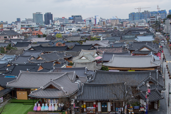 Panoramic view of Jeonju Hanok Village in South Korea