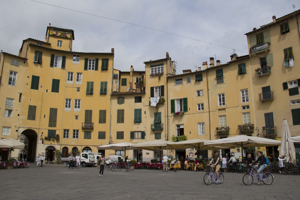 Piazza dell Anfiteatro in Lucca, Tuscany in Italy