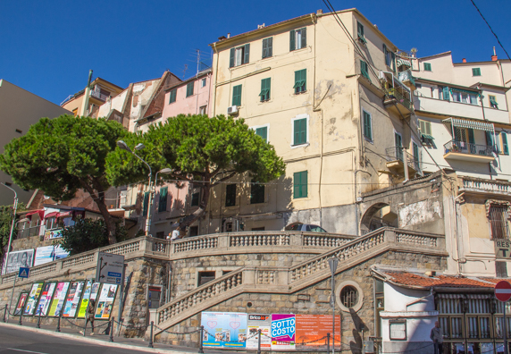 Piazza Eroi Sanremesi below La Pigna in Sanremo on the Italian Riviera