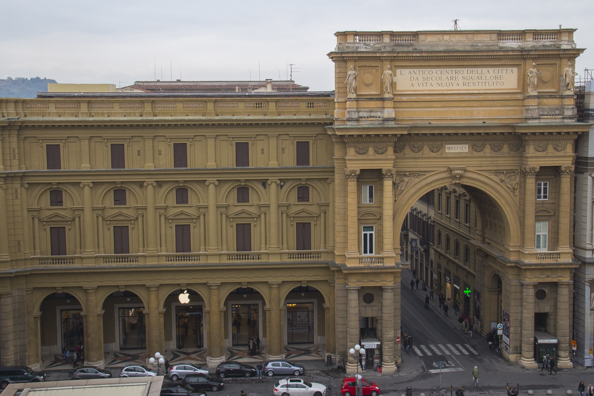 Piazza Repubblica from roof terrace of Rinascente store in Florence, Tuscany, Italy