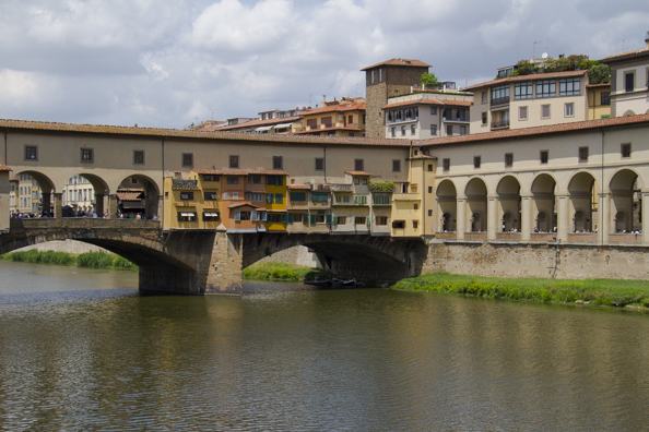 Ponte Vecchio and covered way leading to the Uffizzi in Florence, Tuscany
