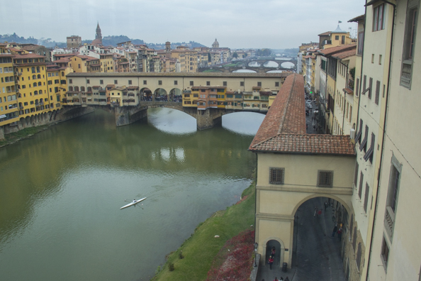 Ponte Vecchio and the Vasari corridor from the Uffizi in Florence, Tuscany, Italy
