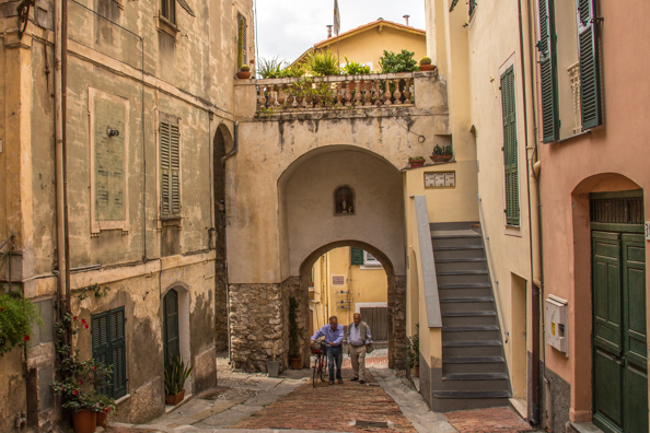 Porta Sottana leading into the old town in Bordighera in Liguria