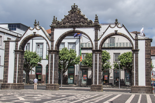 Portas da Cidade or city gates of Ponta Delgada on the Island of São Miguel in the Azores