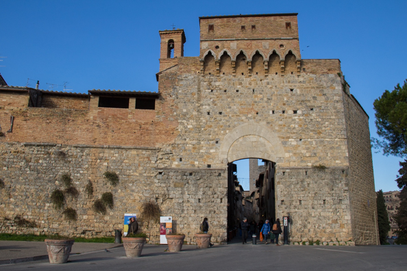 Porta San Giovanni the main gate into San Gimignano, Tuscany Italy