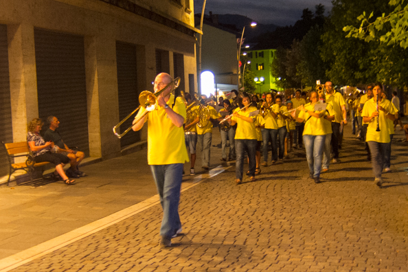 Praso band processes through Levico Terme in Trentino, Italy
