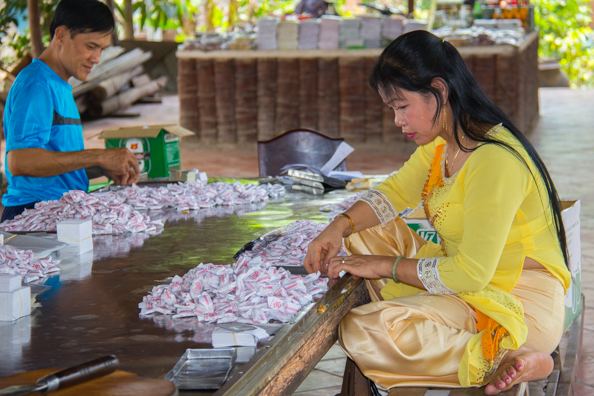 Production of coconut sweets in the Mekong Delta in Vietnam