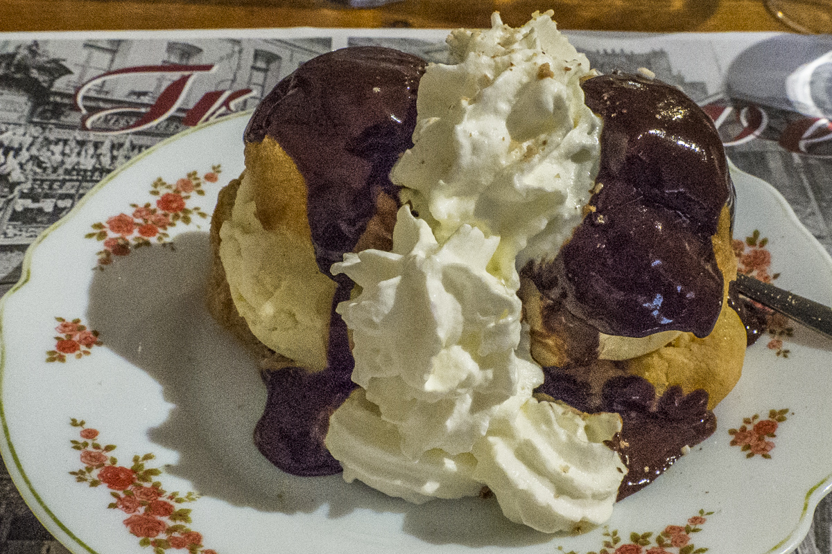 Profiteroles at Les 3 Caves in  Saint Omer in Pas de Calais, France 8081173