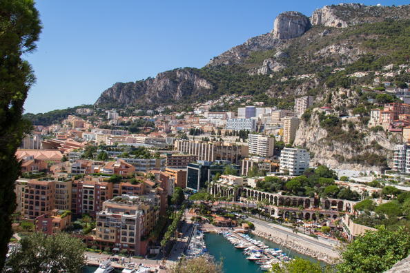 Reclaimed land around the rock of Monaco