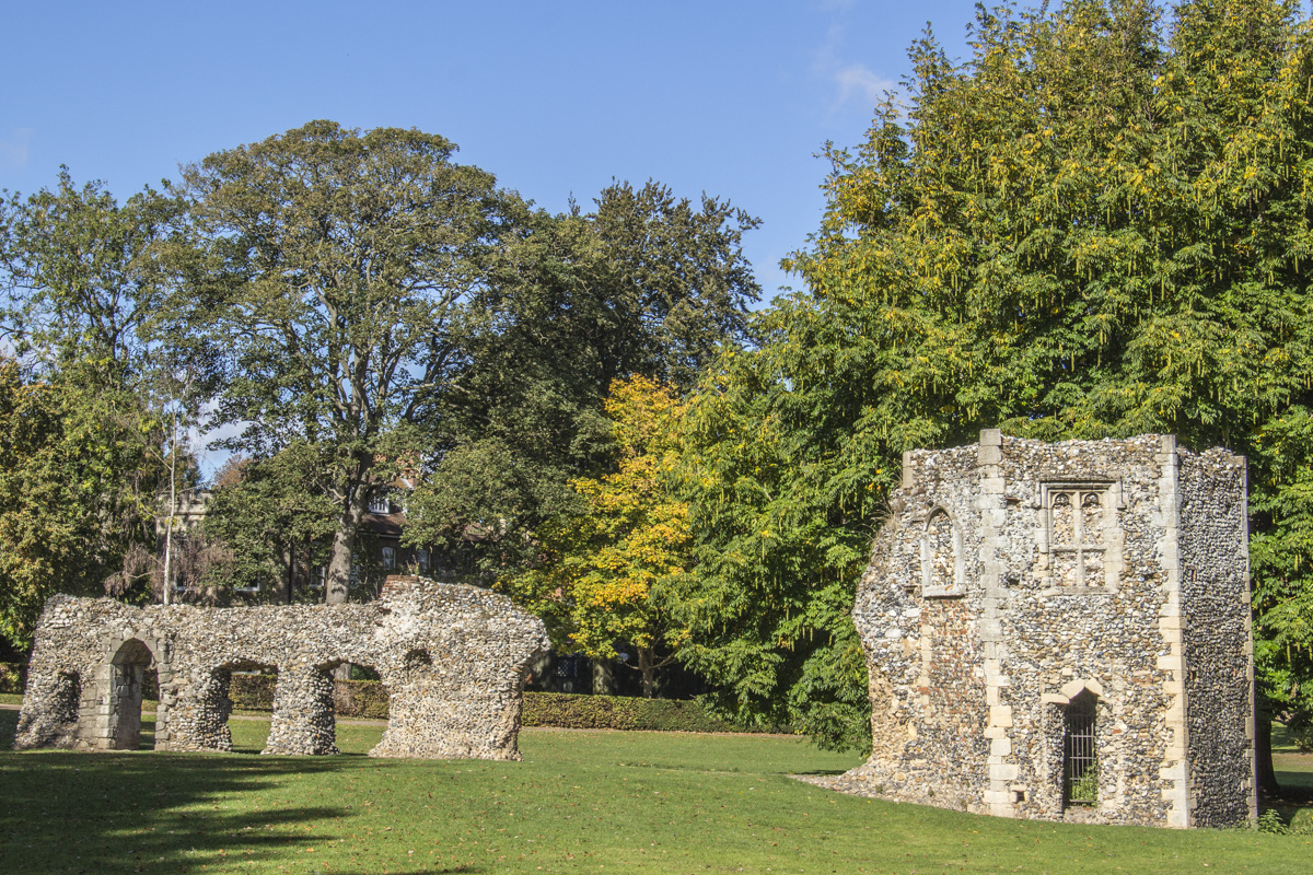 Remains of the Abbot's Palace in Abbey Gardens, Bury St Edmunds, Suffolk  0089