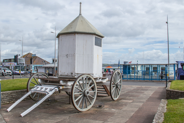 Replica of King George III's bathing hut in Weymouth, Dorset, UK