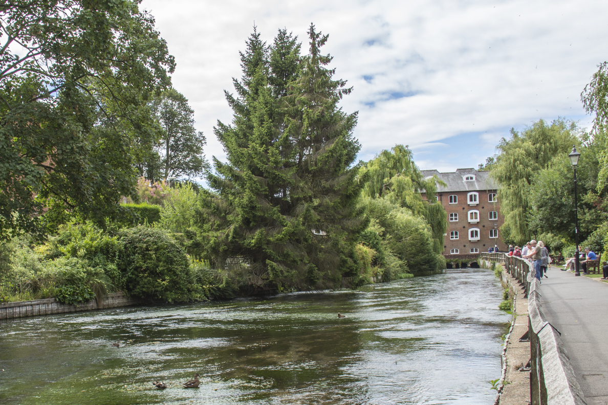 River Itchen flowing towards Wharf Mill in Winchester, Hampshire, England  2375
