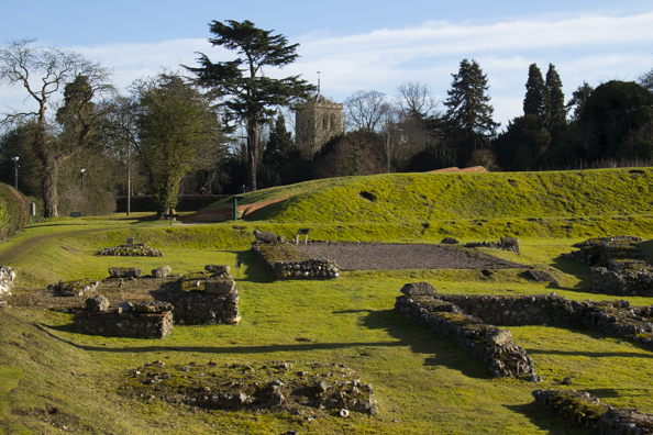 Roman Theatre in front of St Michael's Church in St Albans