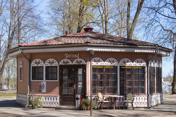 Rotund cafe on Toome Hill in Tartu, Estonia