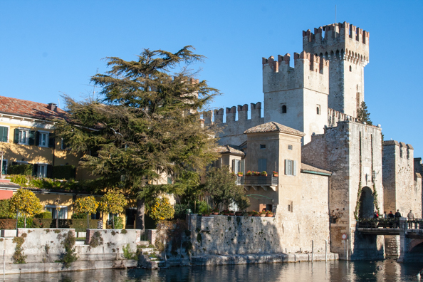 Scaligeri Castle and entrance to the town of Sirmione on Lake Garda in Italy