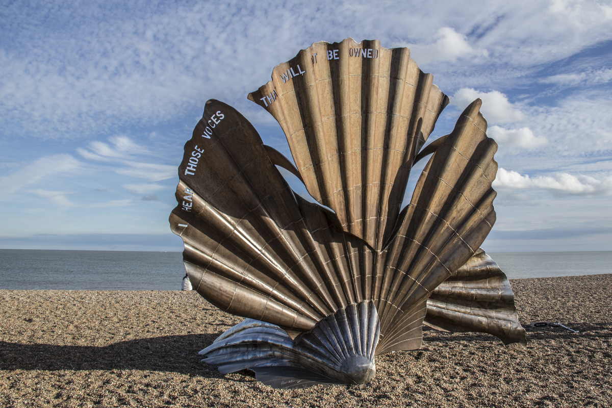 Scallop Sculpture on the beach at Aldeburgh, Suffolk, UK
