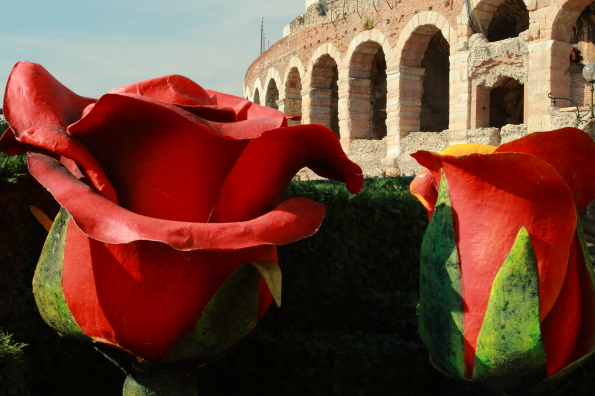 Scenery for the opera by the Arena in Verona