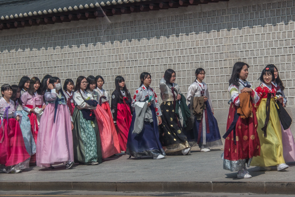 Schoolgirls in traditional dress in Seoul, South Korea