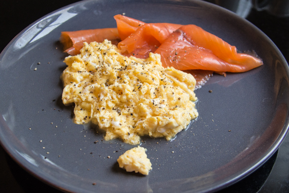Scrambled egg and Pinney's smoked slamon at the Crown in Woodbridge, Suffolk