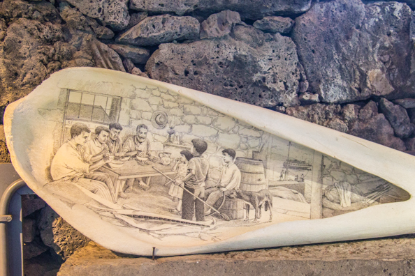 Scrimshaw on the jawbone of a whale in Museo dos Baleeiros on Pico Island in the Azores