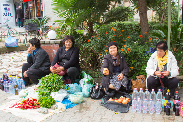Selling produce on the streets of Vlora in Albania