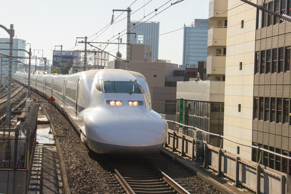 Shinkansen arriving at Kyoto station in Japan