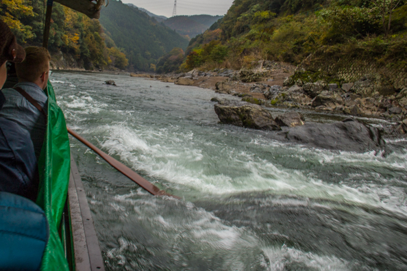 Shooting the rapids on the Hozugawa River in Arashiyama, Japan