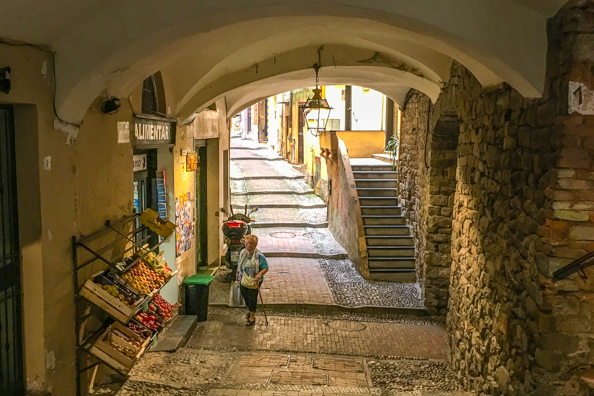 Shopping in La Pigna, Sanremo, Liguria in Italy