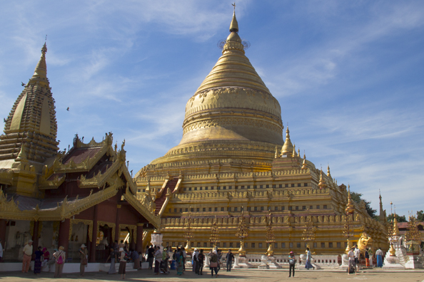 Shwezigon Pagoda in Nyaung near Bagan in Myanmar