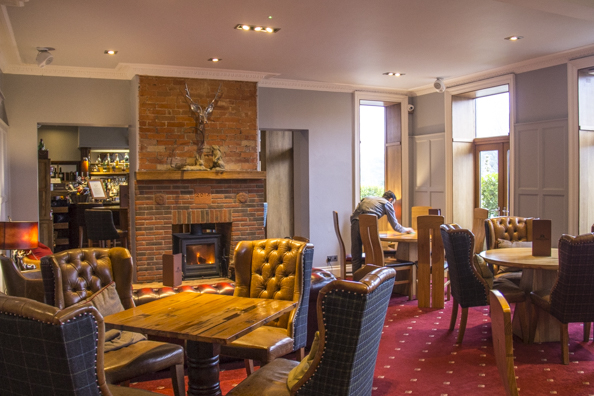 Sitting room and bar at the Balmer Lawn Hotel, Brockenhurst in the New Forest, England