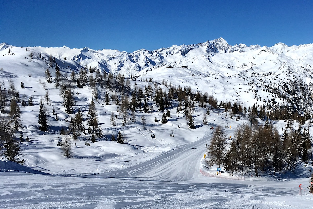 Ski Slopes Above Madonna di Campiglio in Italy