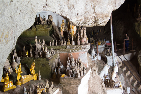 Some of the thousands of Buddhas on diplay in the Pak Ou Caves on the banks of the Mekong River near Luang Prabang in Laos