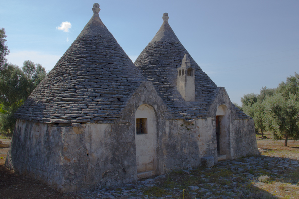 Some trulli in the countryside near Monopoli in Puglia, Italy