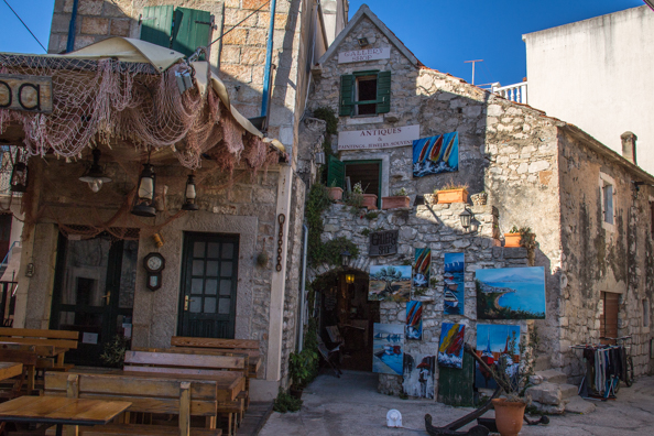 Souvenir shop and traditional konoba restaurant in the old town of Vodice in Croatia