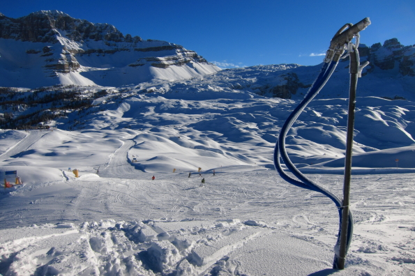 Snow making hose on Spinale in Madonna di Campiglio in the Italian Dolomites