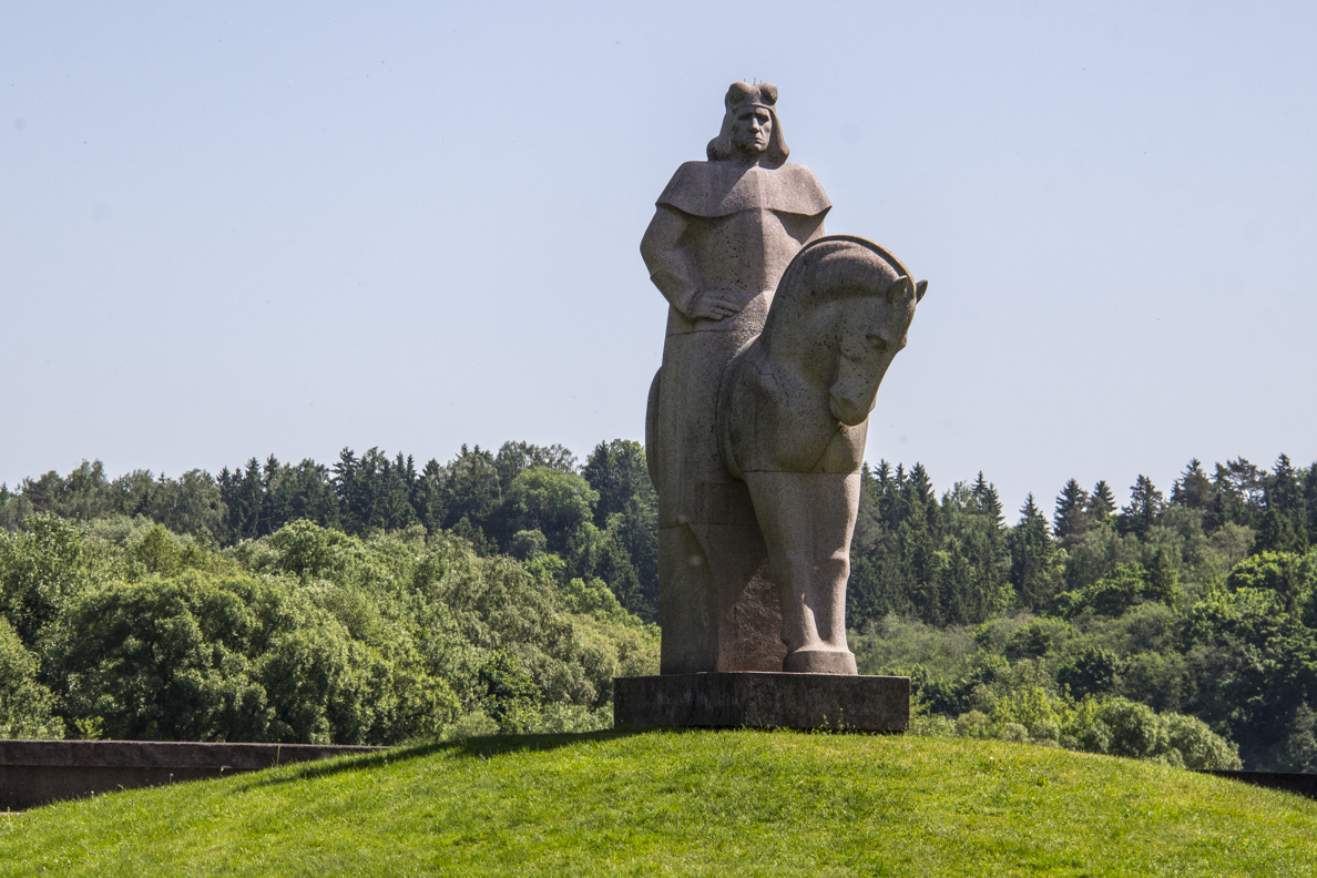 Statue of Grand Duke Vytautas by Nemunas River in Birštonas Lithuania  7869