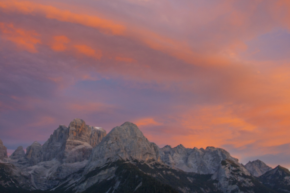 Sun setting over the Brenta Dolomites in Trentino a region of Italy