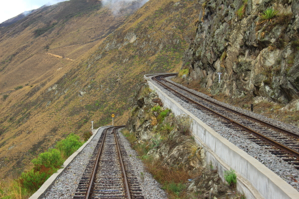 Switch back system on the mountain railway in Ecuador