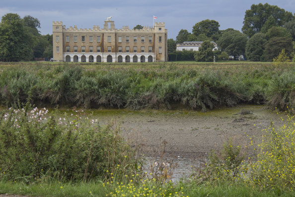 Syon House from the banks of the Thames in Kew Gardens in London