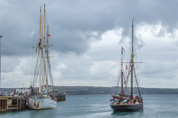 Tall Ship training vessel leaving Weymouth Harbour in Dorset, UK