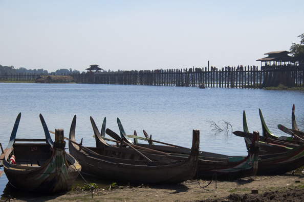 Taungthaman Lake and the U Bein Teak Bridge near Mandalay in Myanmar