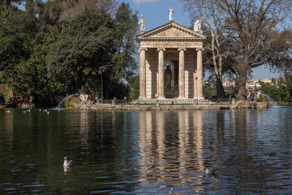 Temple of Aesculapius in the Garden Lake of Villa Borghese, Rome